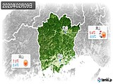 2020年02月09日の岡山県の実況天気
