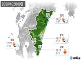 2020年02月09日の宮崎県の実況天気