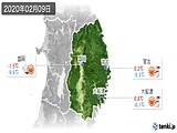 2020年02月09日の岩手県の実況天気
