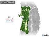 2020年02月09日の秋田県の実況天気