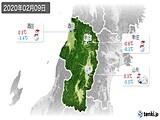 2020年02月09日の山形県の実況天気