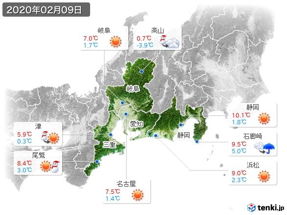 東海地方(2020年02月09日の天気