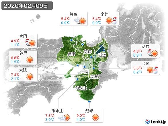 近畿地方(2020年02月09日の天気