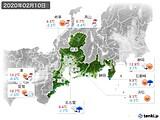 2020年02月10日の東海地方の実況天気