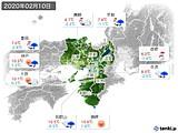 2020年02月10日の近畿地方の実況天気