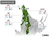 2020年02月10日の道北の実況天気