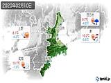 2020年02月10日の三重県の実況天気