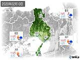 2020年02月10日の兵庫県の実況天気
