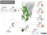2020年02月10日の鹿児島県の実況天気