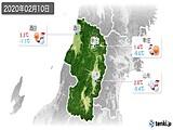 2020年02月10日の山形県の実況天気