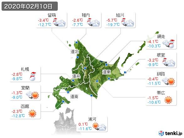 北海道地方(2020年02月10日の天気