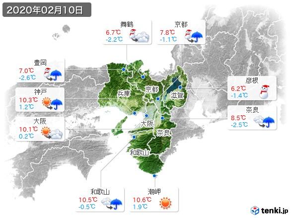 近畿地方(2020年02月10日の天気