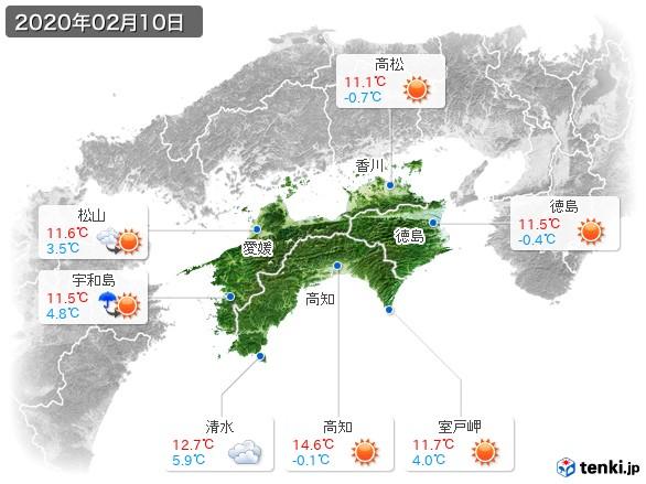 四国地方(2020年02月10日の天気