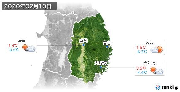 岩手県(2020年02月10日の天気