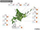 2020年02月11日の北海道地方の実況天気