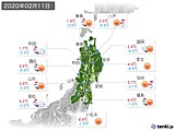 2020年02月11日の東北地方の実況天気
