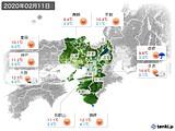 2020年02月11日の近畿地方の実況天気