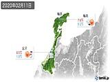 2020年02月11日の石川県の実況天気