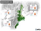2020年02月11日の三重県の実況天気