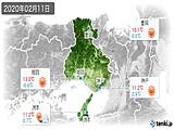 2020年02月11日の兵庫県の実況天気