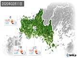 2020年02月11日の山口県の実況天気