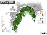 2020年02月11日の高知県の実況天気