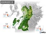 2020年02月11日の熊本県の実況天気