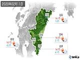 2020年02月11日の宮崎県の実況天気
