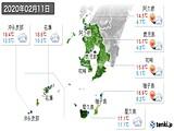 2020年02月11日の鹿児島県の実況天気