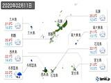 2020年02月11日の沖縄県の実況天気