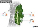 2020年02月11日の岩手県の実況天気