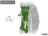 2020年02月11日の秋田県の実況天気