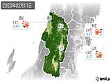 2020年02月11日の山形県の実況天気