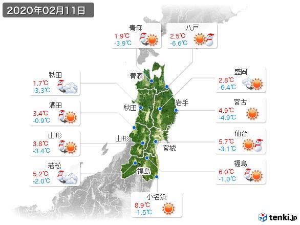 東北地方(2020年02月11日の天気