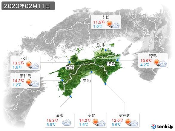 四国地方(2020年02月11日の天気