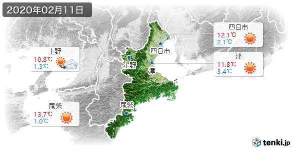 三重県(2020年02月11日の天気