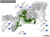 2020年02月12日の東海地方の実況天気