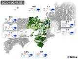 2020年02月12日の近畿地方の実況天気