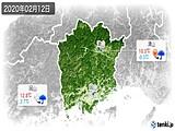 2020年02月12日の岡山県の実況天気