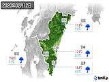 2020年02月12日の宮崎県の実況天気