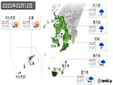 2020年02月12日の鹿児島県の実況天気