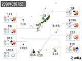 2020年02月12日の沖縄県の実況天気