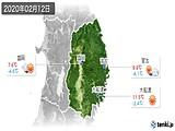 2020年02月12日の岩手県の実況天気