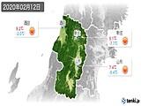2020年02月12日の山形県の実況天気