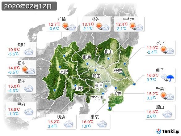 関東・甲信地方(2020年02月12日の天気