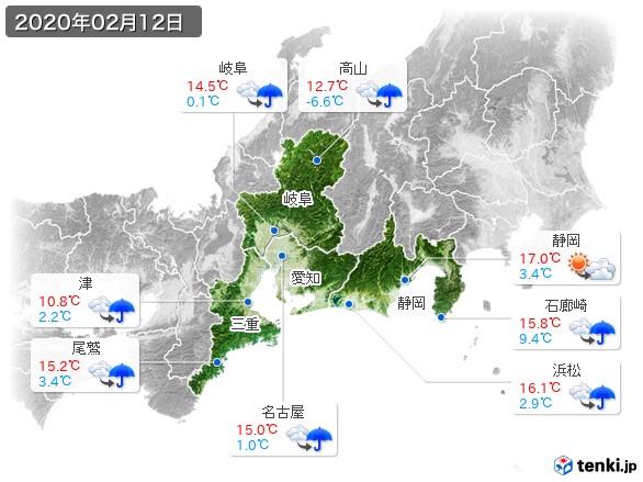 東海地方(2020年02月12日の天気