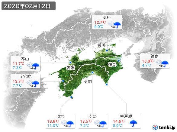 四国地方(2020年02月12日の天気