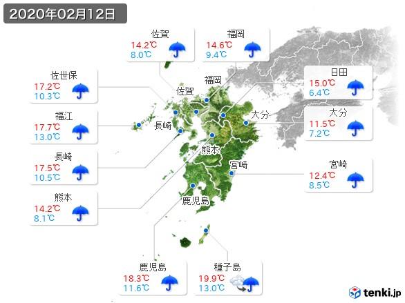 九州地方(2020年02月12日の天気
