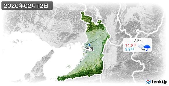 大阪府(2020年02月12日の天気