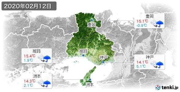 兵庫県(2020年02月12日の天気